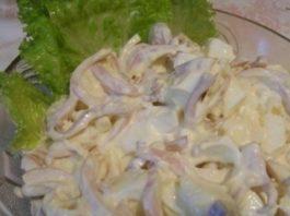 Очень вкусный салат из кальмаров с плавленым сыром